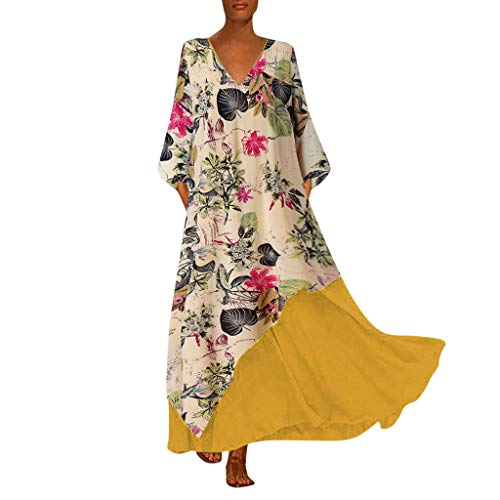 Zylione Damen Strandkleider Maxikleid Strandponcho Lose Kleid Vintage Boho Druck Freizeitkleid Casual Geblümtes Kleid Langarm Partykleider Langes Maxikleid Patchwork 2019 Herbst Winter Kleid S-5XL