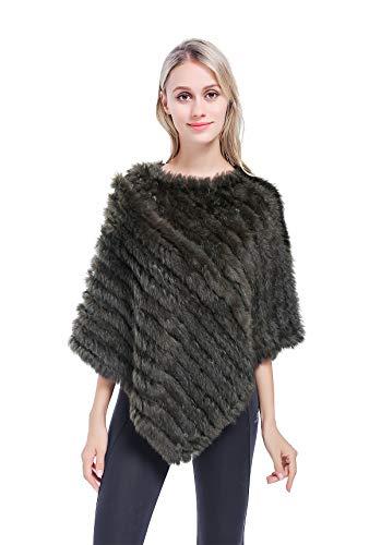 Meefur da donna mantella di vera pelliccia di coniglio maglieria scialle lavorato a maglia mantello colmo per l'inverno (verde)