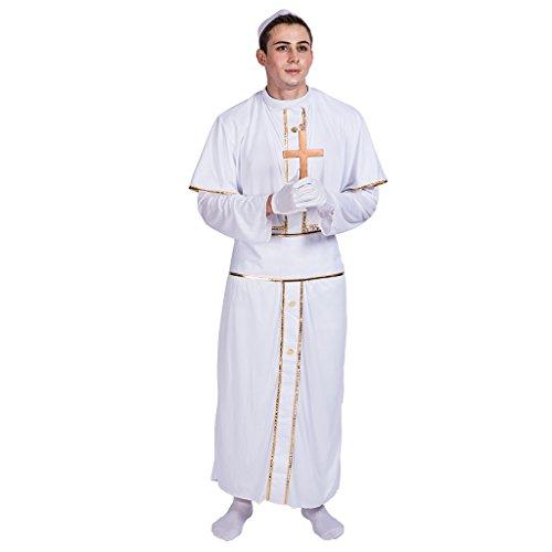 Priester Hohe Kostüm - EraSpooky Herren Priester Kostüm Kirchenkostüm weiße Papst Pastor Pfarrer Karneval Fasching Verkleidung