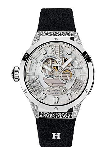 HÆMMER Divine Damenuhr aus Edelstahl   Damen-Uhr mit Armband aus Kalb-Nubukleder   Veredeltes Edelstahlgehäuse mit 112 Kristallen   Kratzfestes Saphirglas