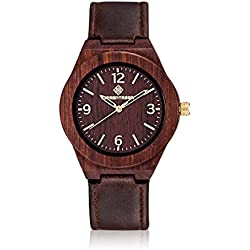Amexi Handmade Wooded Wrist Watch With Vintage Red Real Leather