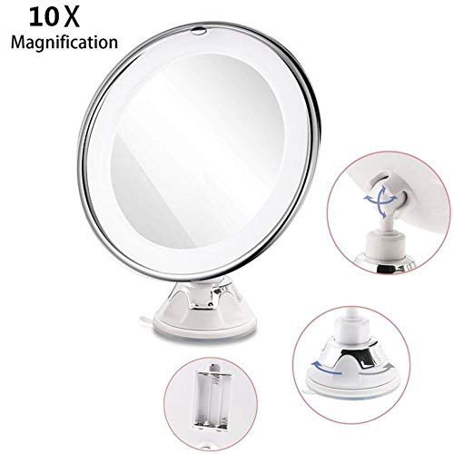 LEDHZJYLW Led Kosmetikspiegel 8 Zoll 10X Vergrößerung Led Tabletop Runde Make-Up Kosmetikspiegel...