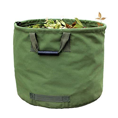 *WHT 125L Gartenabfallsäcke für Schwere Aufgaben mit Griffen, Grüne Laubsack mit Militärischem Segeltuchgewebe (H45.7 cm, D55.8 cm)*