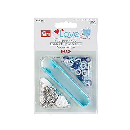 Druckknöpfe LOVE 21 Stück Jersey 8 mm blau / weiß gemischt