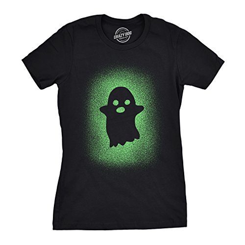 Crazy Dog Tshirts - Womens Glowing Ghost T Shirt Glow In The Dark Cool  Halloween Party e57d5d254ddc5