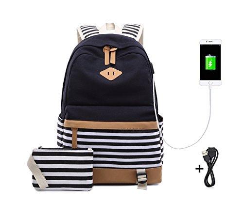 Netchain Schulrucksack Mädchen Schultasche Canvas Rucksack Schulranzen Backpack Streifen Rucksack mit 15.6 zoll, USB Charging Port(Schwarz)