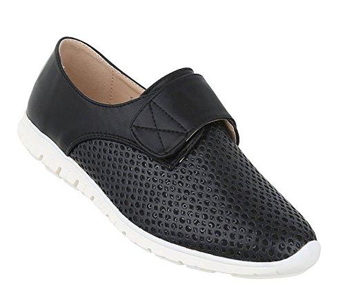 Damen Halbschuhe Schuhe Perforierte Slipper Schwarz