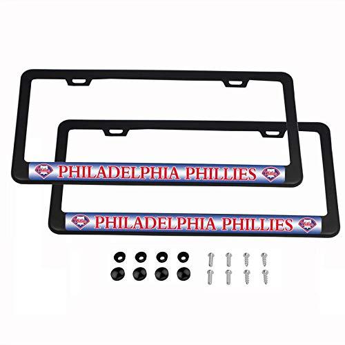 CHNNFC MLB Kennzeichenrahmen, leicht, pulverbeschichtetes Aluminium, Schwarz, 2 Stück, Philadelphia Phillies -