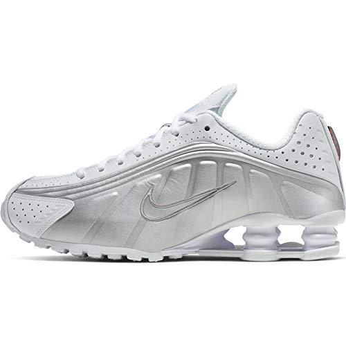 Nike Damen Shox R4 Leichtathletikschuhe, Mehrfarbig (White/White/Metallic Silver/Max Orange 000), 38.5 EU