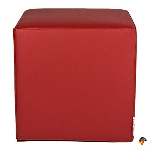 Arketicom dado pouf poggiapiedi cubo ecopelle sfoderabile puff bordeaux 35 cm