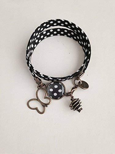 Pulsera Liberty, pulsera de lunares, brazalete negro y blanco, Liberty joya, joyería de mujer, pulsera de Liberty