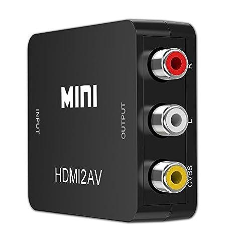 yctc HDMI zu 3RCA Composite AV Konverter/Konverter/Adapter | 1x HDMI/2x Cinch-Buchsen–Stereo Audio Signal/1x RCA Jack–Video (Composite Video) | PAL/NTSC umschaltbar–Schwarz