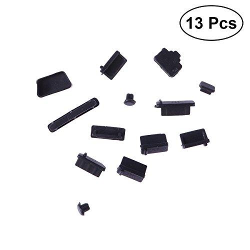 LEDMOMO Silikon Staubstecker Port Protector im allgemeinen Gebrauch für Laptop 13 Stück (Schwarz) Port Protector
