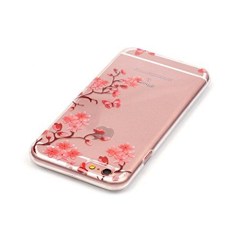 LuckyW TPU Handyhülle für Apple iPhone 6 plus/6s plus(5.5 zoll) Soft Silikon Tasche Transparent Schale Clear Klar Hanytasche Durchsichtig Rückschale Ultra Slim Thin Dünne Schutzhülle Weiche Flexibel K Plum Blume