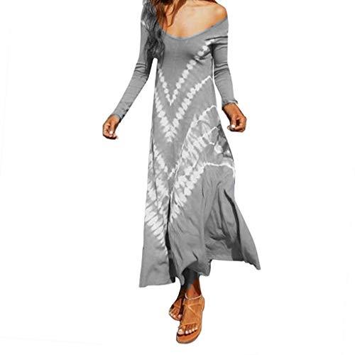 Bodycon Casual Herbst Dresses für Damen Lose Plus Size Gradient Krawatte mit V-Ausschnitt Langarm Print Langes Kleid ()