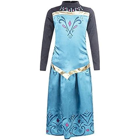 Elsa - Vestido de coronación de la Reina del Hielo con falda para niña, color turquesa, 6-7 años, (Katara