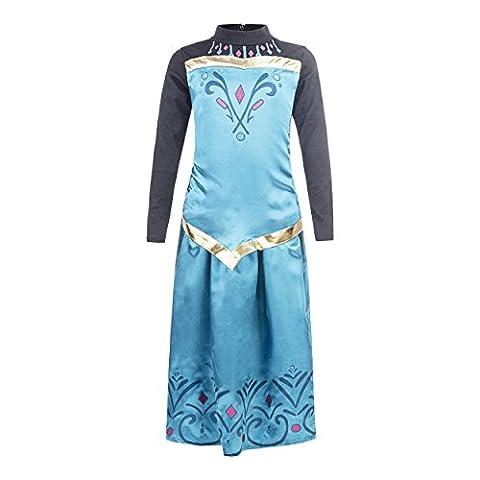 Katara 128/134 Türkises Eiskönign Elsa Krönungs-Kleid als Karnevals-Kostüm in langarm mit Rock, für 7-8 Jahre