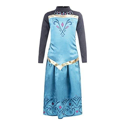 Katara 128/134 Türkises Eiskönign Elsa Krönungs-Kleid als Karnevals-Kostüm in langarm mit Rock, für 7-8 (Disney Krönung Elsa Kostüm)