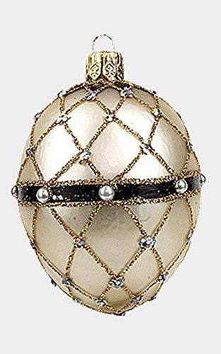 Pinnacle Peak Trading Company Mini Glittered Pearl Faberge Inspired Egg Polish Glass Ornament Christmas Easter -