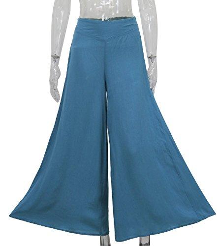 Hippolo Frühling und Sommer Frauen Hose Taille breite Bein Hose (XL, blau) (Hosen Bügeleisen Kleid)