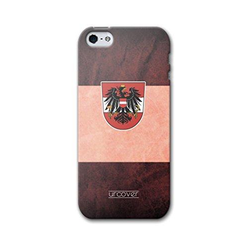 Urcover® Apple iPhone 5 / 5s / SE WM 2018 Hülle [ TEAM Österreich ] Fussball Handyhülle | Fußball Schutzhülle | Sport Case | TPU / Silikonhülle Cover | Weltmeisterschaft 2018 Backcase Fahne Fanartikel Österreich