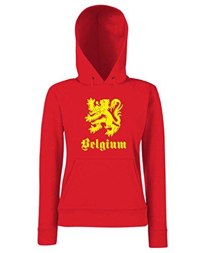 T-Shirtshock - Sweats a capuche Femme T0701 belgio belgium calcio ultras Rouge