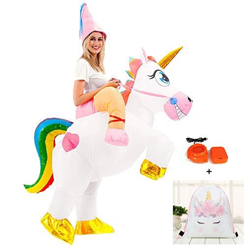 FunClothing Aufblasbares Einhorn-Kostüm, Faschingskostüm für Party, Halloween, Weihnachten, Karneval (Sieben Farben) Gr. One Size, (Gutes Pferd Und Reiter Kostüm)