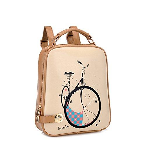 Molly Da Donna Preppy Lo Stile Stampato Bicicletta Modello PU Pelle Zaino Khaki Barato Venta En Línea Compra 87utd54a