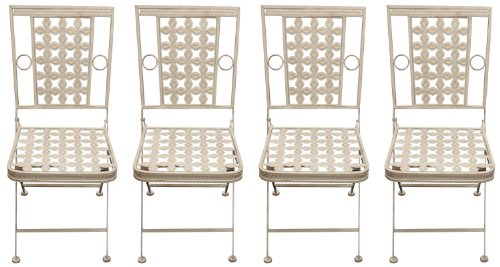 Maribelle - Lot de 4 chaises de jardin - carrées/pliantes - pour les patios/l'extérieur - métal