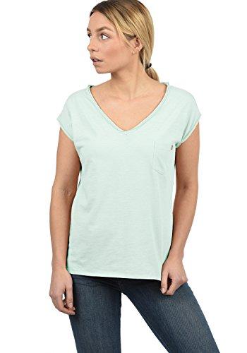 DESIRES Lynn Damen T-Shirt Kurzarm Shirt mit V-Ausschnitt und Brusttasche Aus 100% Baumwolle, Größe:XS, Farbe:Blue Glow (1252) - Yoga-baumwoll-t-shirt