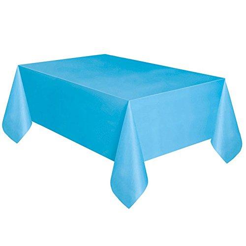 Yunt Nappe Jetable Nappe de Table en Plastique Nappe Antitache Rectangulaire pour Partie Anniversaire (Bleu Clair)
