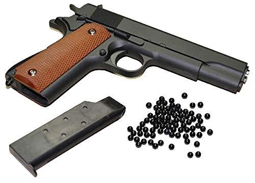 KOSxBO® Airsoft Pistole - Vollmetall Metallschlitten, schwarz Kaliber 6 mm BB Ink. Premium BBS Munition -