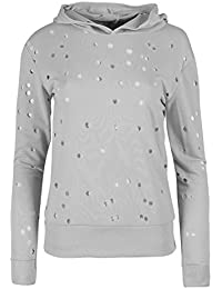 Be Jealous Womens Long Sleeve Dots Lazer Cut Sleeve Hoodie Fleece Hooded Jumper Sweatshirt Top