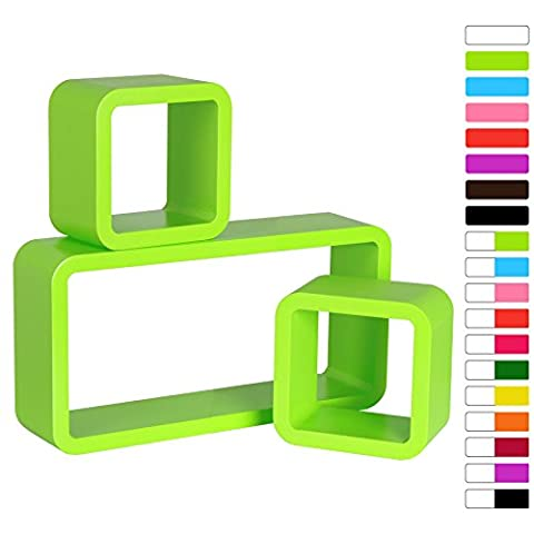 WOLTU #65 3 Set Green Floating Wall Shelf Floating Shelves Storage Lounge Cube mounted Display