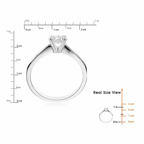 Diamond Manufacturers, Damen, Verlobungsring mit 0.25 Karat F/VS1 feinem und zertifiziertem Ovaldiamant in 18k Weißgold, Gr. 41 - 6