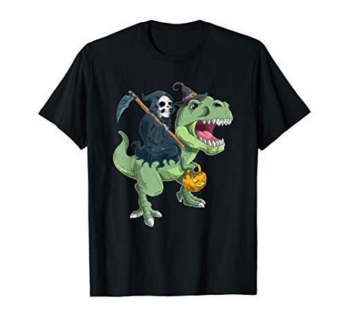Grim Reaper und T-Rex Halloween  T-Shirt