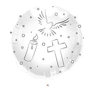 Folienballon Taube Kerze Kreuz, weiß/Silber,Konfirmation Kommunion Tau