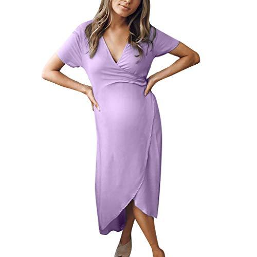 Likecrazy Mutterschaft Kleid Damenmode Kurzarm V-Ausschnitt Schwangerschaftskleid Knöchellang Unregelmäßig Umstandskleid Reine Farbe V-Neck Kleider Sommer Umstandsmode V-neck Shift