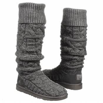 Ugg Australia Womens Over The Knee Twisted Cable Boots Charcoal Size 5 / UK 3