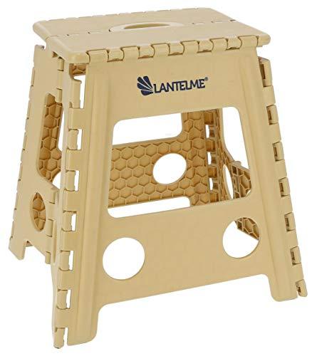 Lantelme Klapphocker 44 cm Hoch und max. 120 kg belastbar . Hocker aus Kunststoff Farbe beige Wetterfest für Haushalt , Garten und Camping