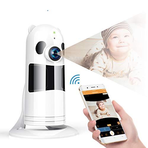 HWUKONG Monitor para bebé, WiFi babyphone Panorama 180 Grados Ojo de pez HD, cámara de Red de visión...