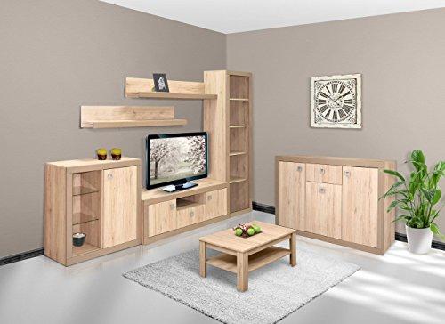 Wohnzimmer Komplett - Set C Medinaceli, 7-teilig, teilmassiv, Farbe: Braun (Tiefe 18 Unterschränke)