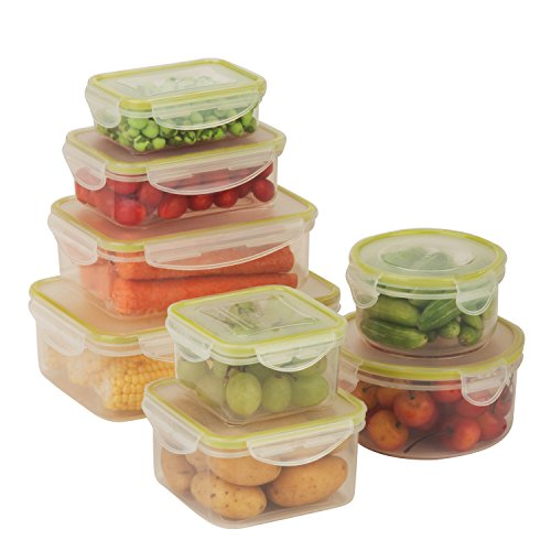 Honey can do kch-03828 snap-tab rechteckig Food Container Kit, Polypropylen, farblos, 8-Pack Snap Tab
