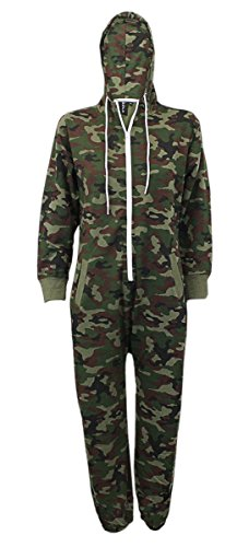 Kids Unisex Boys Girls Hooded Zip Up Onesie Playsuit All In One Piece Jumpsuit For Kids Age 7 8 9 10 11 12 13 (Age 13, Army)