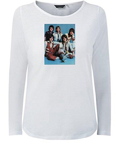 Bay City Rollers (sitzend) Lady T Shirt Long Sleeve Weiß - Weiß