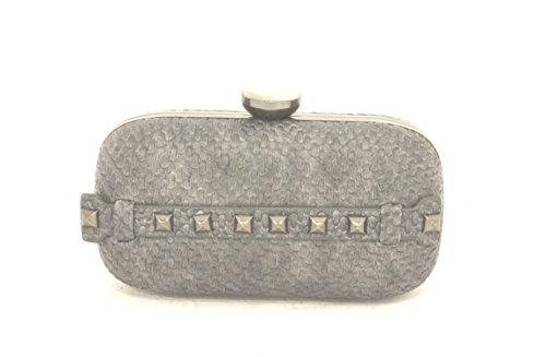 AwAy borsa clutch intreccio borchie con tracolla borsetta pochette bag diamond grigio