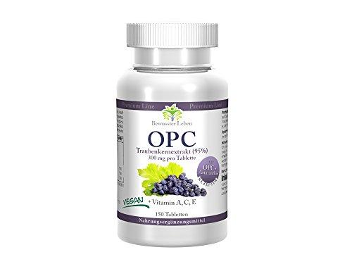 Biomenta OPC - Estratto di semi d'uva - Super Antiossidante complessanti 900mg estratto di semi d'uva con il 95% OPC al giorno - con astaxantina, alghe, vitamina A, vitamina C, vitamina E - Made in Germany - 150 Antiossidanti Pastiglie