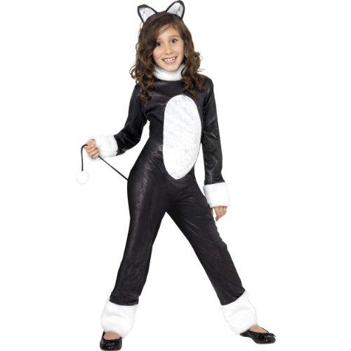 Katze Kind Coole Kostüm - Smiffys Halloween Kinder Kostüm coole Katze als Tier verkleiden Gr.4-6 Jahre