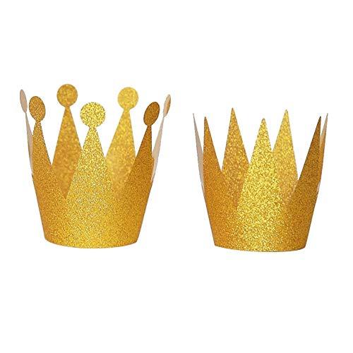 (xMxDESiZ 6 Stück Kinder Glitzer Papier Geburtstag Hüte Prinz Prinzessin Kronen Party Decor)