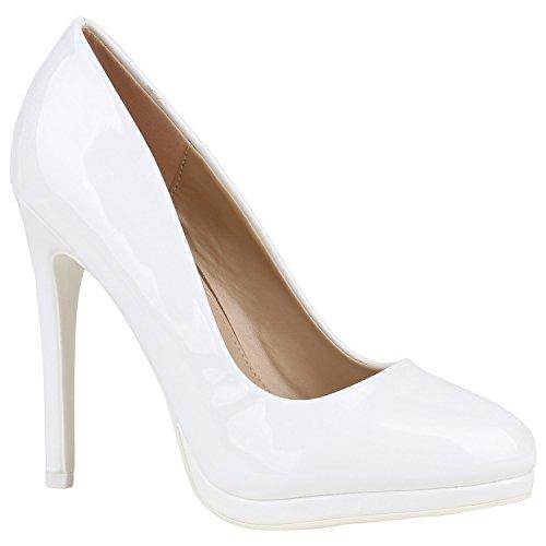 Stiefelparadies Spitze Damen Pumps Stilettos Lack Schuhe High Heels Elegant 155220 Weiss Lack Brito 38 Flandell